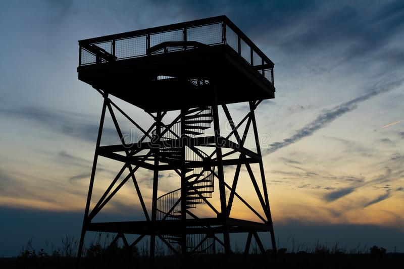 Observation Tower at dusk. Observation deck in Dixon Waterfowl Refuge at dusk.  Putnam County, Illinois, USA royalty free stock images