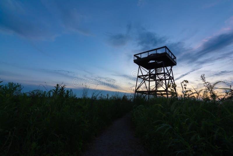 Observation Tower at dusk. Observation deck in Dixon Waterfowl Refuge at dusk.  Putnam County, Illinois, USA stock images