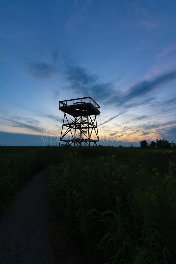 Observation Tower at dusk. Observation deck in Dixon Waterfowl Refuge at dusk.  Putnam County, Illinois, USA stock photo