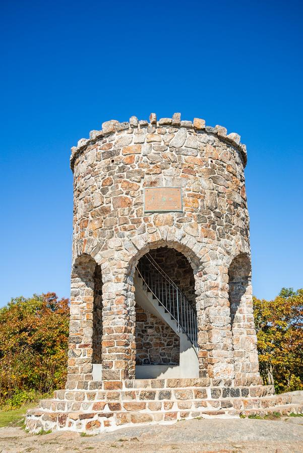 Observation tower at the peak of Mount Battie in Camden, Maine stock photos