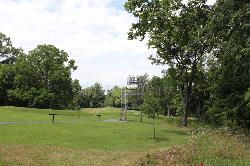 Observation tower - Serpent Mound. This is the observation tower at Serpent Mound of Ohio, United States. This Mound was built by the Fort Ancient culture around royalty free stock photos
