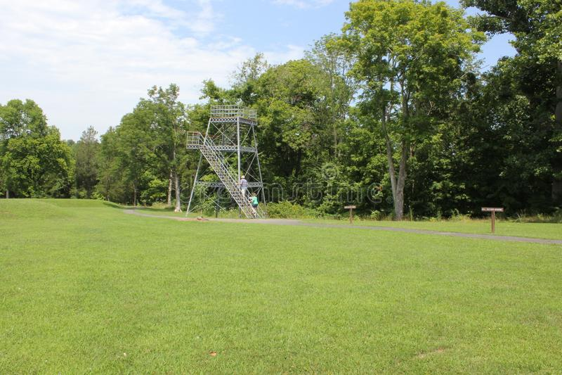 Observation Tower at Serpent Mound. Of Ohio, United States. nThis Mound was built by the Fort Ancient culture around 1070 CE.nSerpent Mound is the largest royalty free stock photo