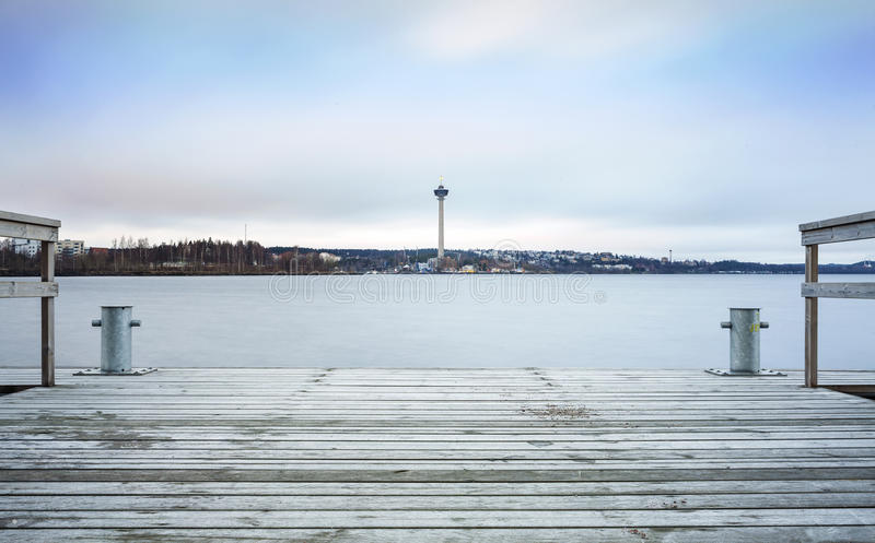 Observation Tower in Tampere, Finland. Observation Tower and jetty in Tampere, Finland royalty free stock photos