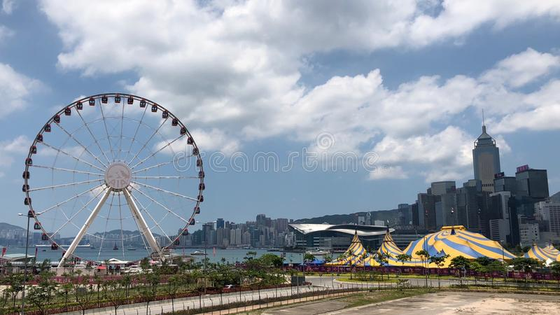 Observation Wheel in Central District near Victoria Harbor in Hong Kong royalty free stock photos