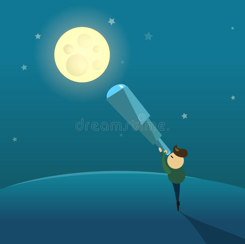 Observations of the moon through a telescope. Illustation in comic vector style stock illustration