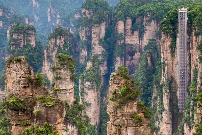 Observationshiss på berget av Zhangjiajie royaltyfri fotografi