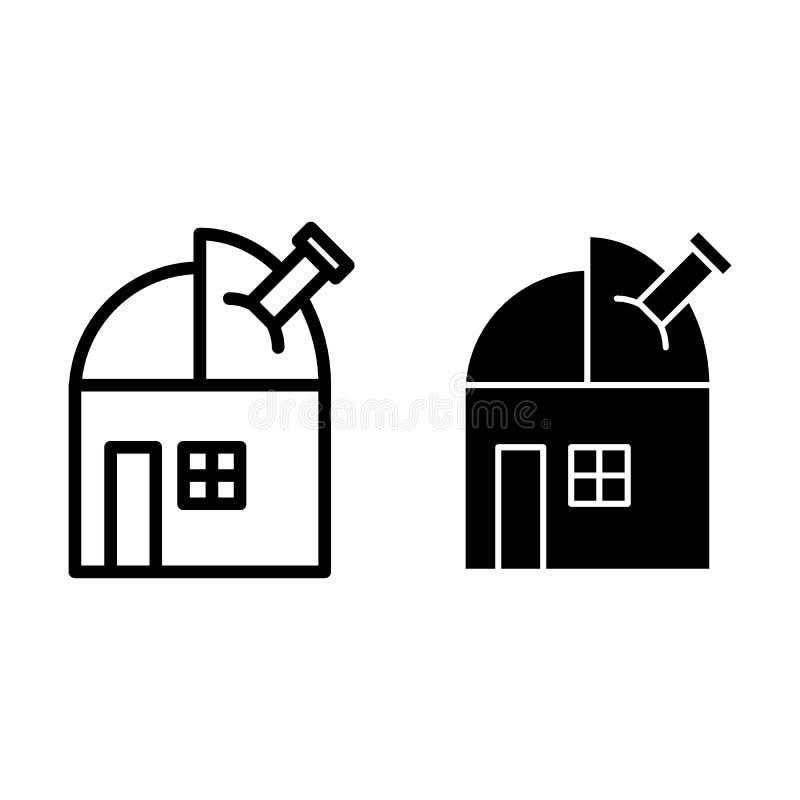 Observatoire avec la ligne de télescope et l'icône de glyph Illustration de vecteur d'astronomie d'isolement sur le blanc Style d illustration stock