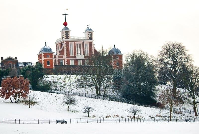 Observatoire de Greenwich en jour d'hiver froid photo libre de droits