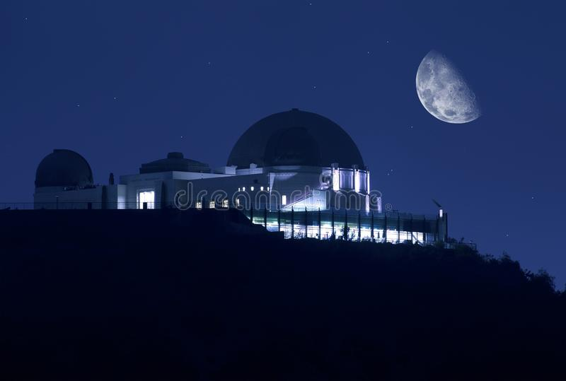 Observatoire de Griffith la nuit image libre de droits