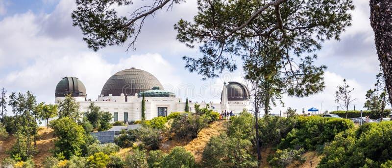Observatoire et Griffith Park astronomiques Attraction touristique du DLOS d'Angeles, CA photographie stock libre de droits
