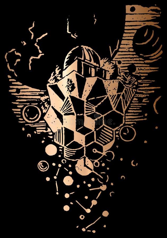 Observatorio que graba la impresión hecha a mano de la textura del oro libre illustration
