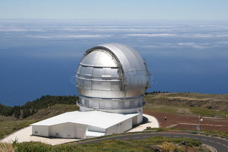 Modern observatory for exploring the universe, La Palma, Spain. Observatory at the Roque de Los Muchachos at the island La Palma, which belongs to the Canary stock photos