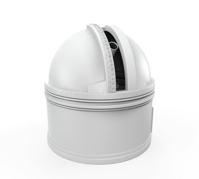 Observatory Dome. Isolated on white background. 3D render royalty free illustration
