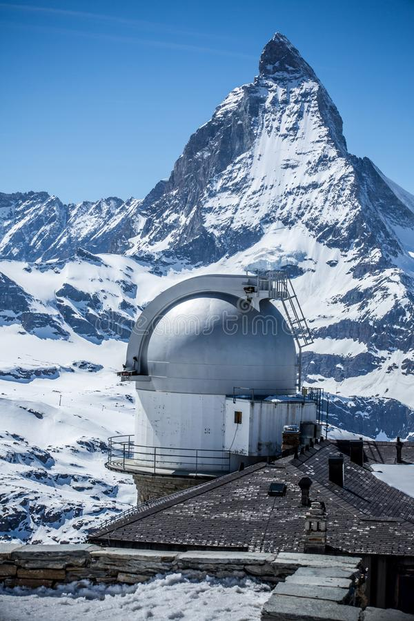 Observatory at Gornergrat with Matterhorn - Zermatt, Switzerland. Observatory at Gornergrat with Matterhorn in background - Zermatt, Switzerland royalty free stock image