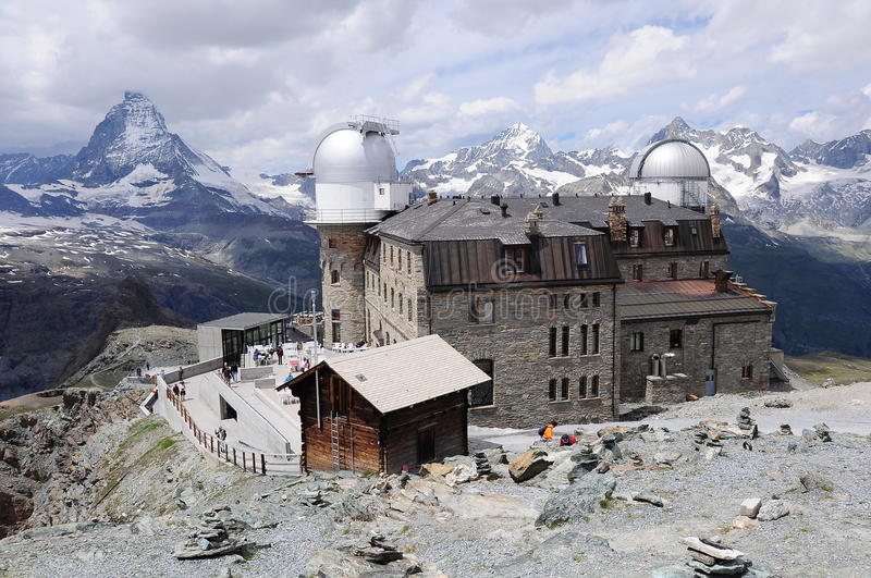 Observatory in Gornergrat. Switzerland. Walking around Matterhorn mountain. Gornergrat royalty free stock photography