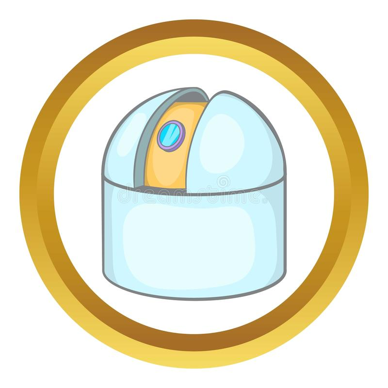 Observatory icon. In golden circle, cartoon style isolated on white background royalty free illustration