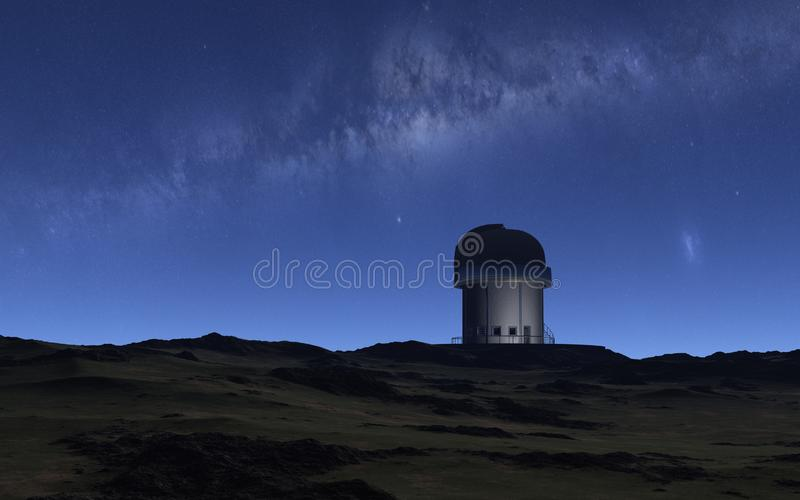 Observatory. This image shows a observatory with milky way royalty free illustration