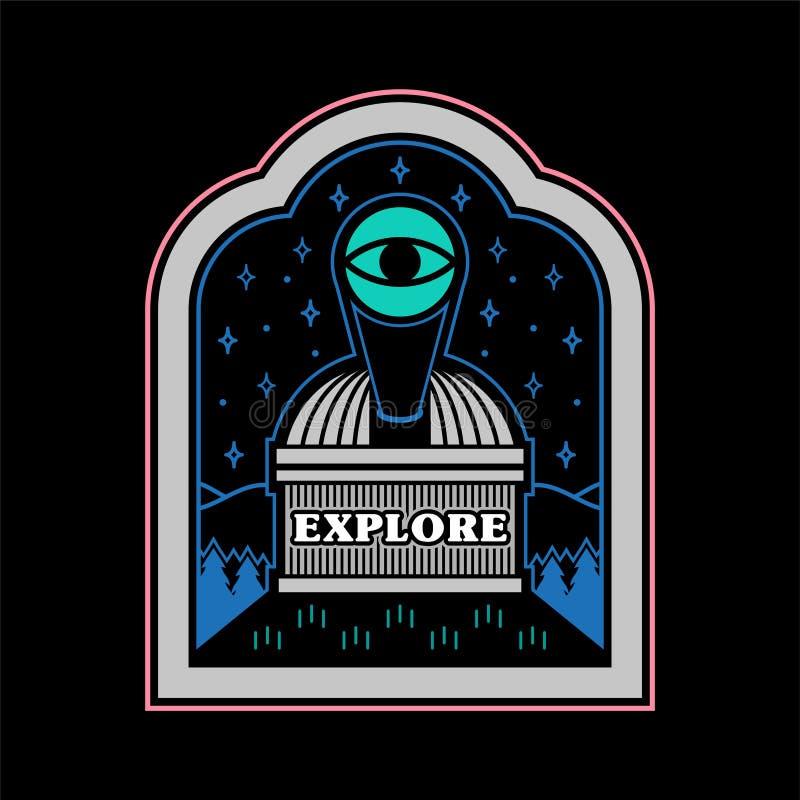 Observatory on mountain patch sticker vector illustration