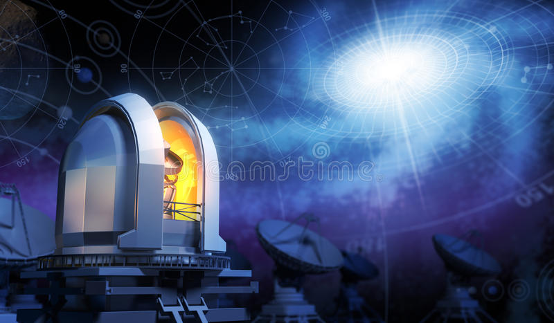 Observatory. Sky Maps and Galaxy stock illustration