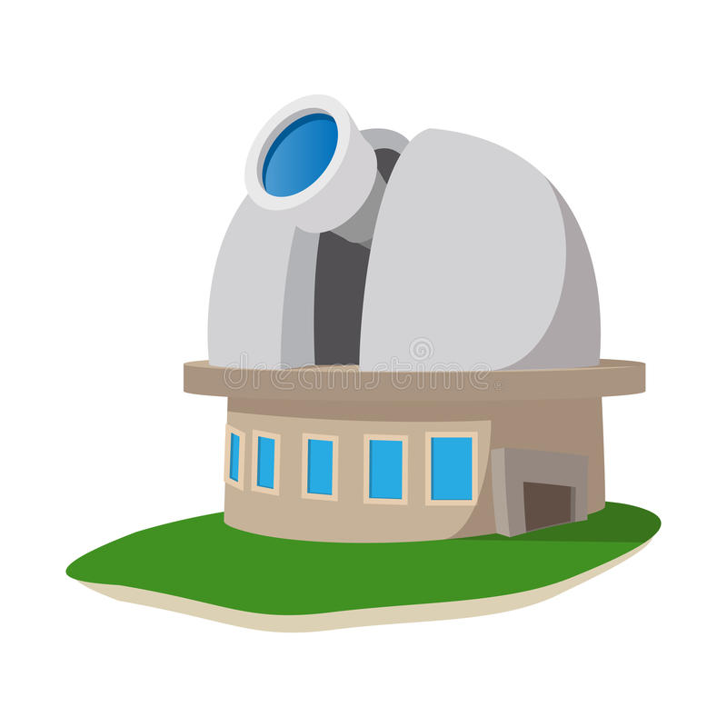 Observatory station cartoon icon. On a white background vector illustration