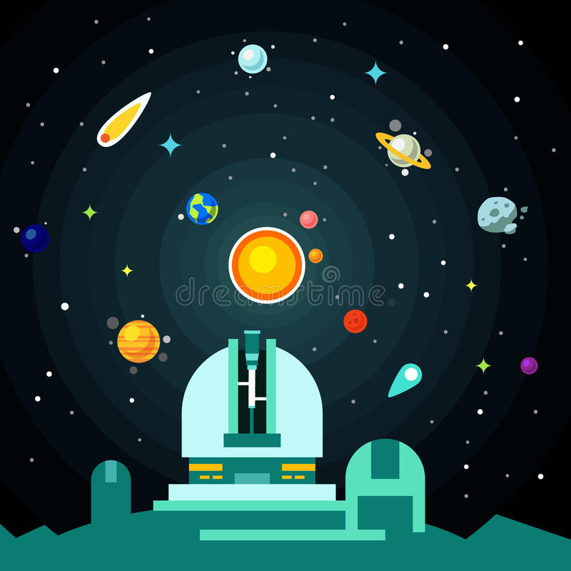 Observatory station, solar system with planets. Comets and asteroids on the night star sky. Flat style vector background illustration stock illustration