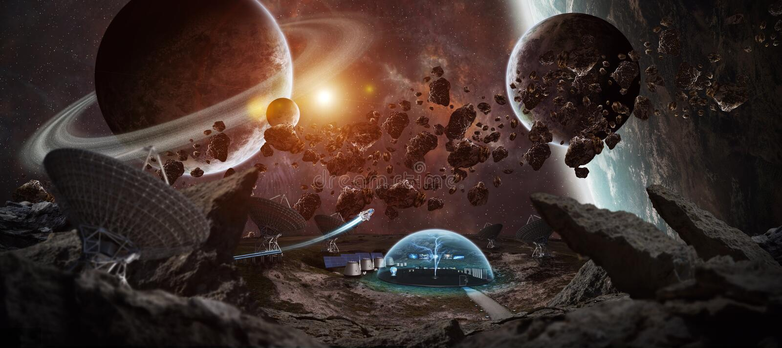 Observatory station in space 3D rendering elements of this image. Observatory station in space on an asteroid with dome protection and radio telescope 3D royalty free illustration