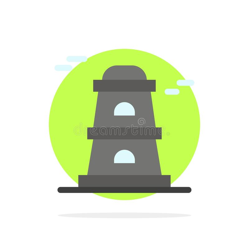 Observatory, Tower, Watchtower Abstract Circle Background Flat color Icon stock illustration
