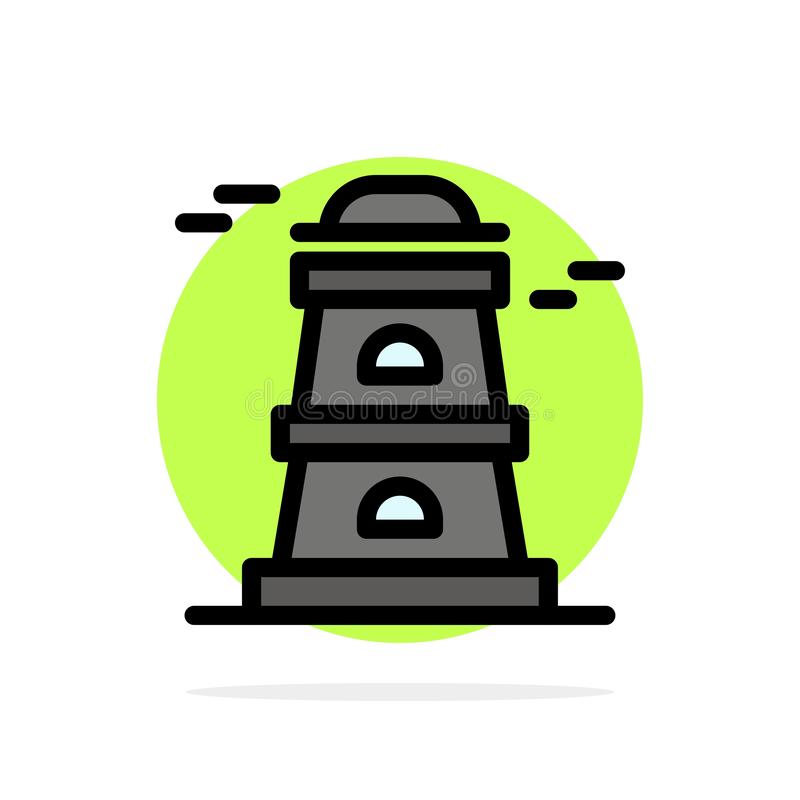 Observatory, Tower, Watchtower Abstract Circle Background Flat color Icon royalty free illustration