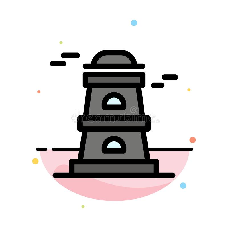 Observatory, Tower, Watchtower Abstract Flat Color Icon Template stock illustration