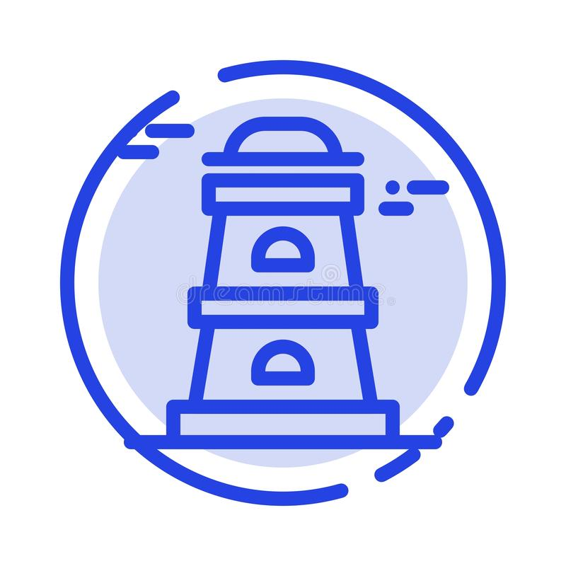 Observatory, Tower, Watchtower Blue Dotted Line Line Icon vector illustration