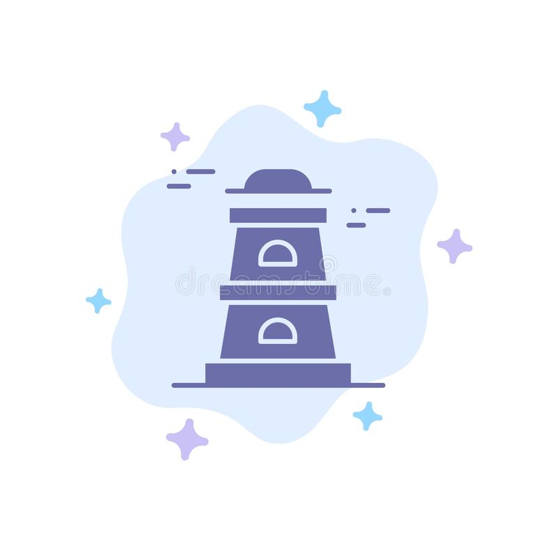 Observatory, Tower, Watchtower Blue Icon on Abstract Cloud Background royalty free illustration
