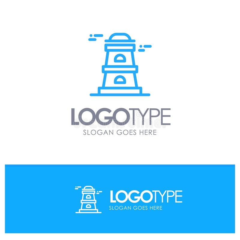 Observatory, Tower, Watchtower Blue outLine Logo with place for tagline vector illustration