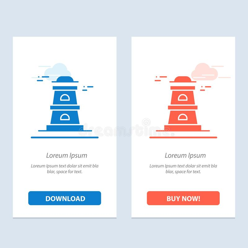 Observatory, Tower, Watchtower  Blue and Red Download and Buy Now web Widget Card Template vector illustration