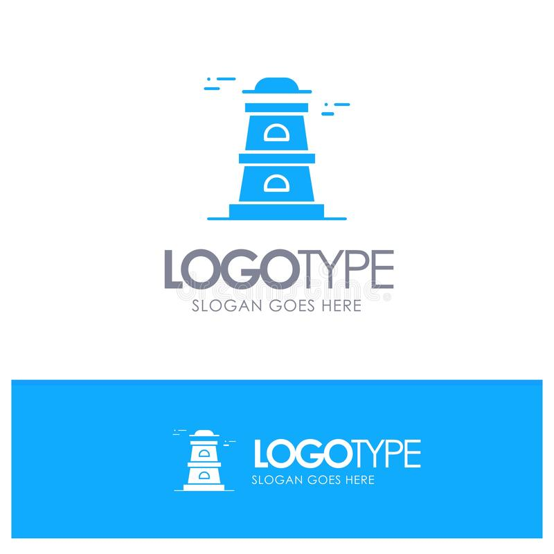 Observatory, Tower, Watchtower Blue Solid Logo with place for tagline royalty free illustration