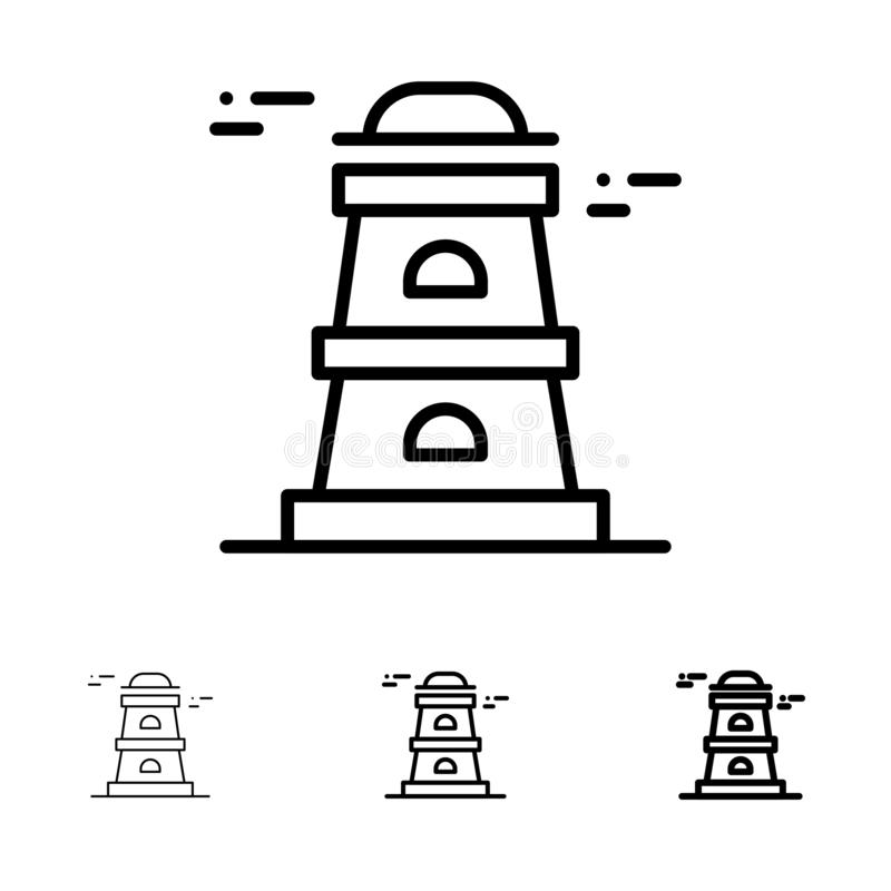 Observatory, Tower, Watchtower Bold and thin black line icon set royalty free illustration