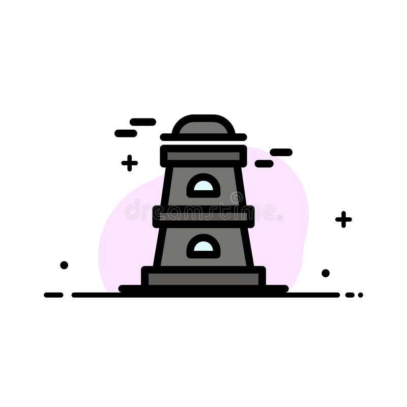 Observatory, Tower, Watchtower  Business Flat Line Filled Icon Vector Banner Template royalty free illustration