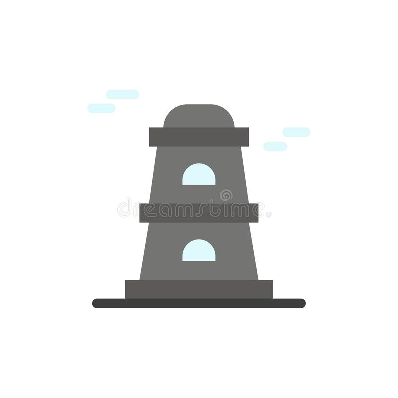 Observatory, Tower, Watchtower  Flat Color Icon. Vector icon banner Template vector illustration