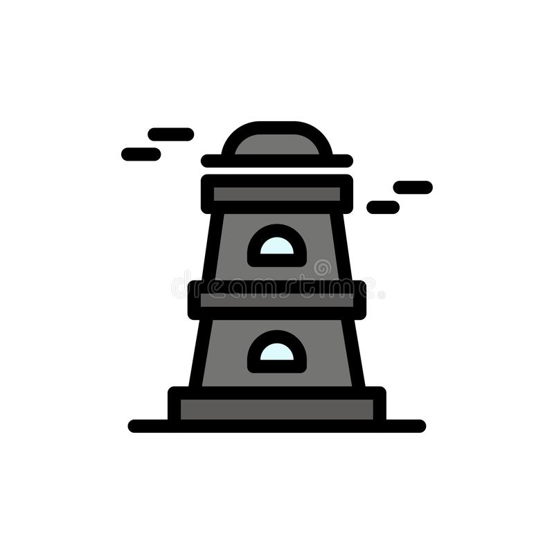 Observatory, Tower, Watchtower  Flat Color Icon. Vector icon banner Template stock illustration