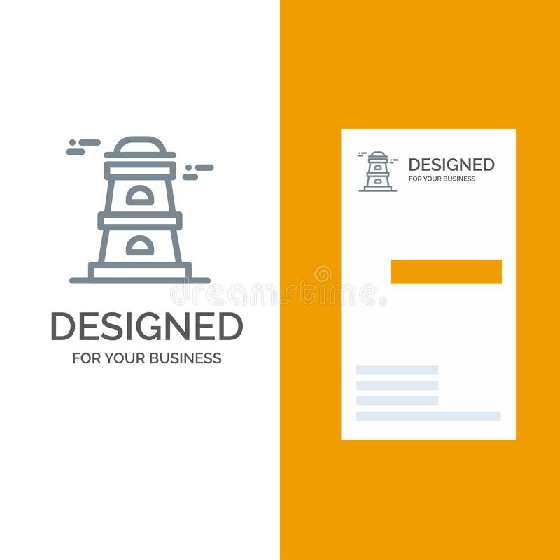 Observatory, Tower, Watchtower Grey Logo Design and Business Card Template stock illustration