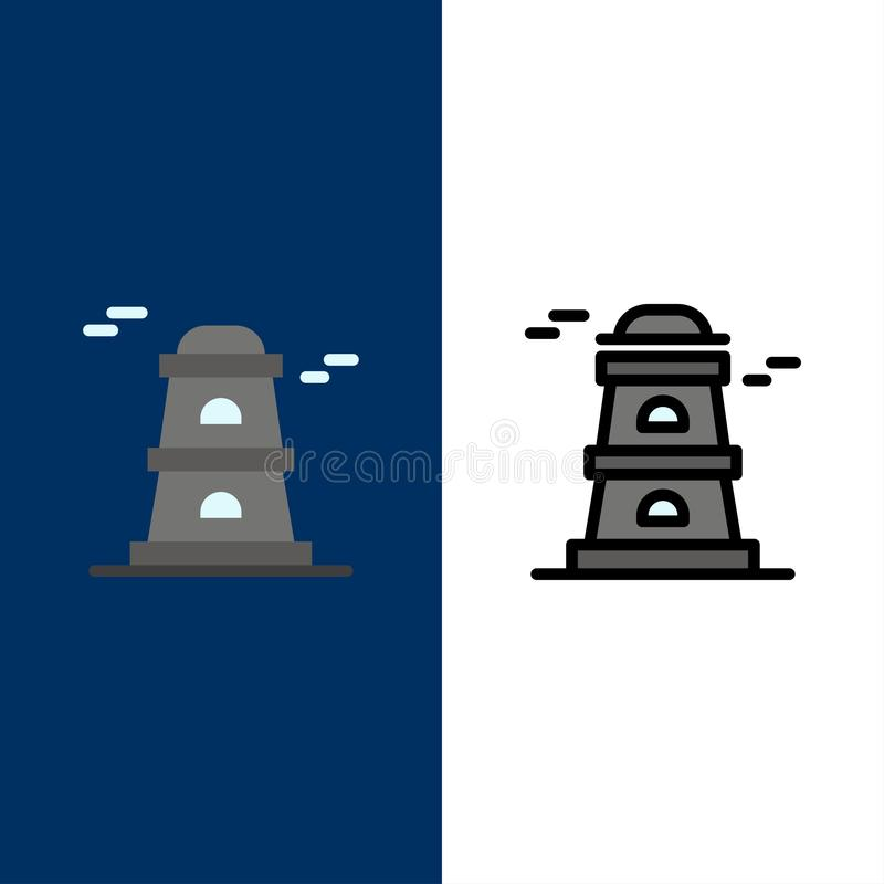 Observatory, Tower, Watchtower  Icons. Flat and Line Filled Icon Set Vector Blue Background vector illustration