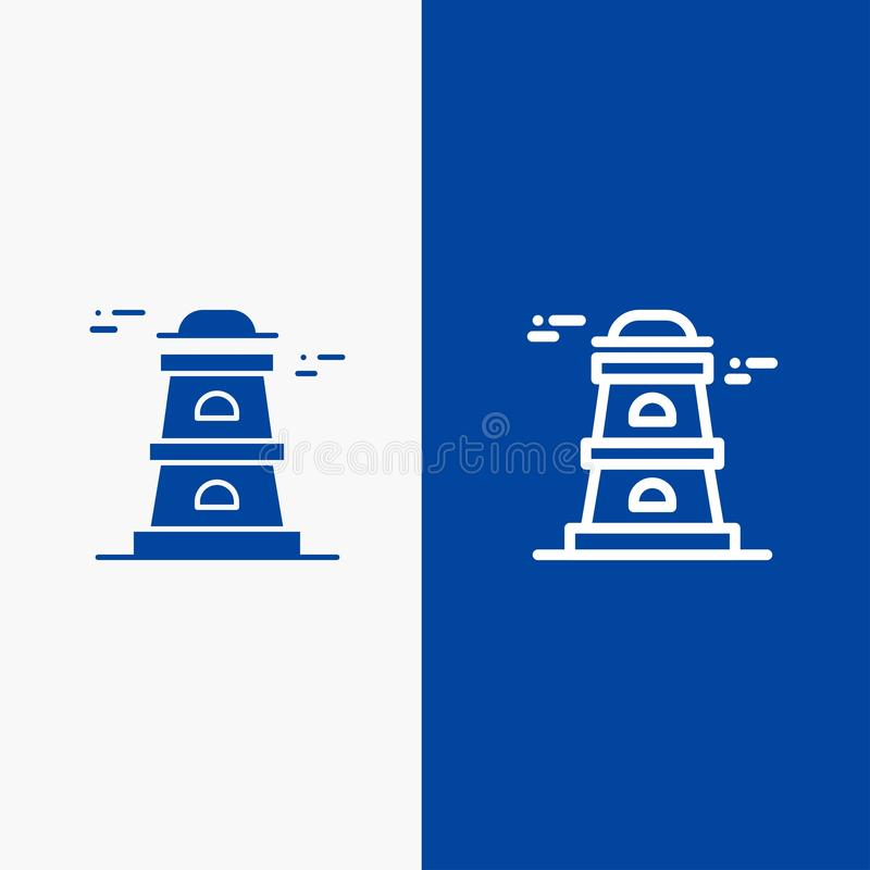 Observatory, Tower, Watchtower Line and Glyph Solid icon Blue banner Line and Glyph Solid icon Blue banner stock illustration