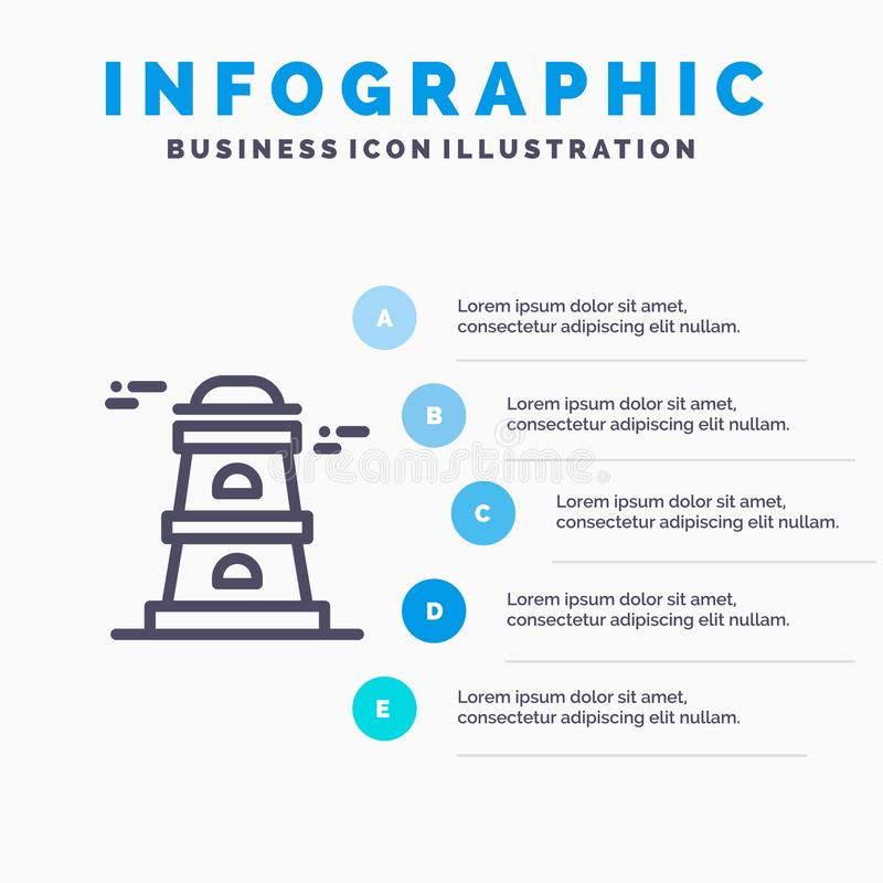 Observatory, Tower, Watchtower Line icon with 5 steps presentation infographics Background stock illustration