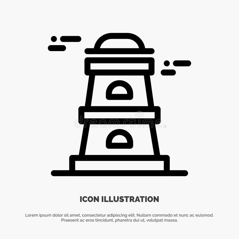 Observatory, Tower, Watchtower Line Icon Vector stock illustration