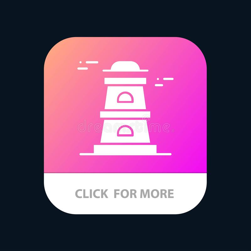 Observatory, Tower, Watchtower Mobile App Button. Android and IOS Glyph Version royalty free illustration
