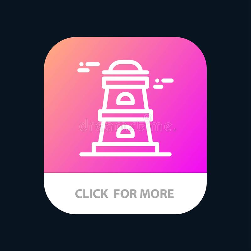 Observatory, Tower, Watchtower Mobile App Button. Android and IOS Line Version royalty free illustration