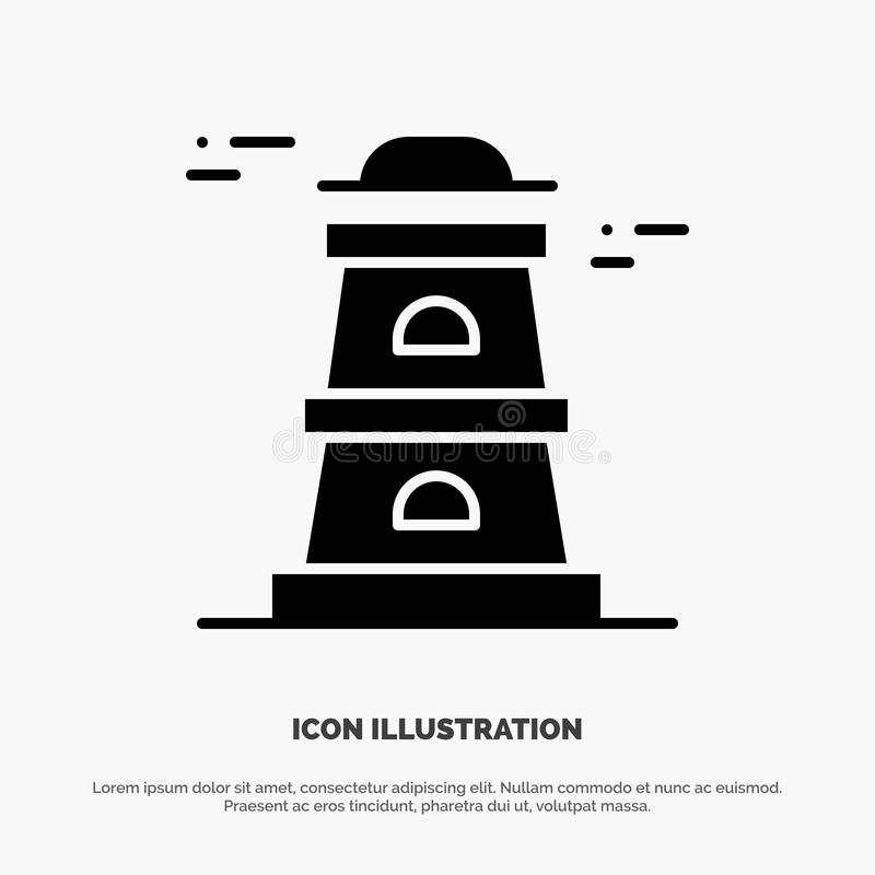 Observatory, Tower, Watchtower solid Glyph Icon vector royalty free illustration