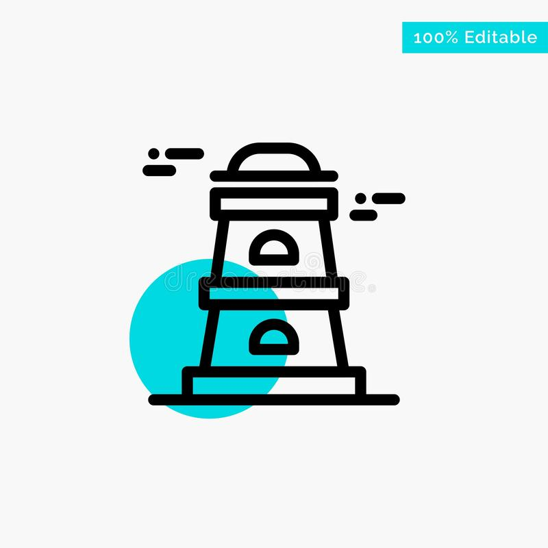 Observatory, Tower, Watchtower turquoise highlight circle point Vector icon stock illustration