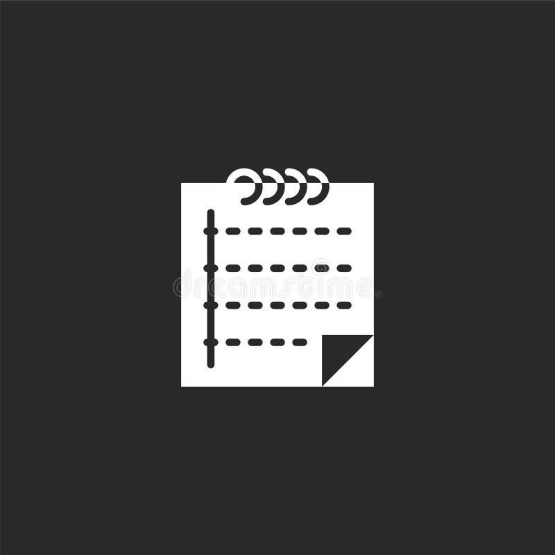 Observe el icono Icono llenado de la nota para el diseño y el móvil, desarrollo de la página web del app icono de la nota de la c ilustración del vector