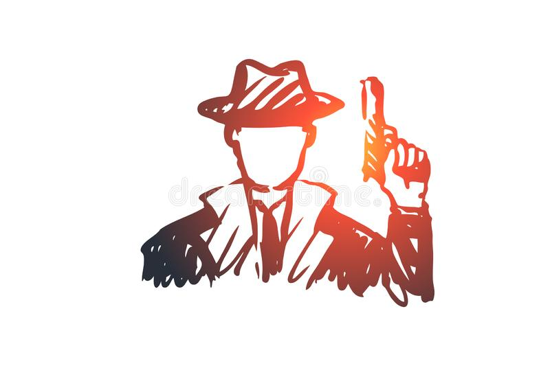 Observe, glass, gun, person, detective concept. Hand drawn isolated vector. royalty free illustration