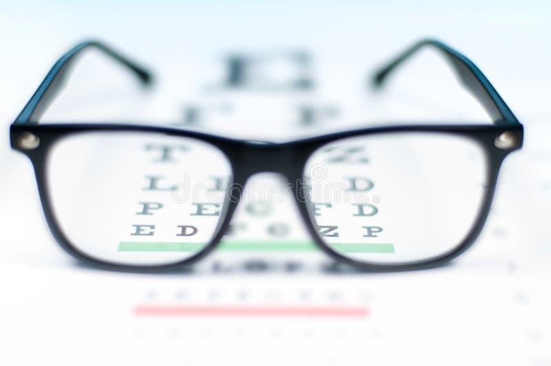 Observe la carta de prueba de la visión vista a través de los vidrios del ojo imagenes de archivo
